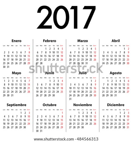 French Calendar Grid 2017 Year Best Stock Vector 466732919 ...