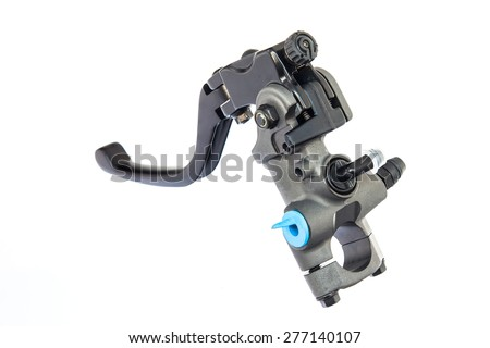 Spare part of black motorcycle lever isolated on white