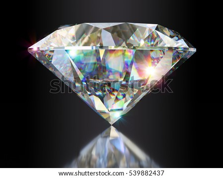 Sparklings and light dispersion in a classic round brilliant cut diamond standing on its point, side view with reflection on gray background. Photo-realistic 3d computer-generated image