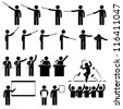 Speaker Presentation Teaching Speech Stick Figure Pictogram Icon - stock photo