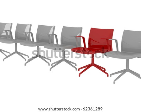 Special red office armchair between ordinary seats, render/illustration