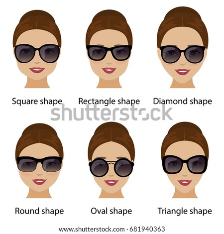 Set Various Types Sunglasses Faces Shapes 스톡 벡터 482761816