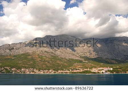 Spectacular clouds over Baska Voda on Adriatic coast in Croatia