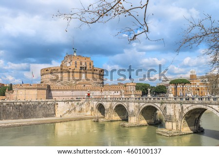 Spectacular panoramic view on the ancient Castel and Ponte Sant'Angelo ( Famous Roman landmarks).Scenic architectural and natural landscape.The embankment of the river Tiber. Rome. Italy. Europe.