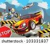 speeding car - stock photo