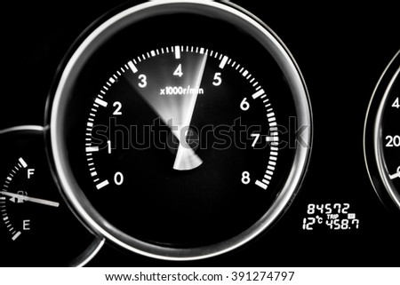 Speedometer and RPM - car dashboard