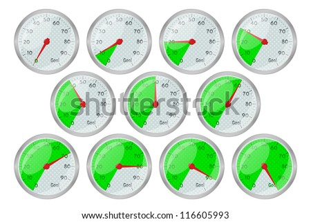 Speedometer green graphic showing progress towards goal, bitmap copy.