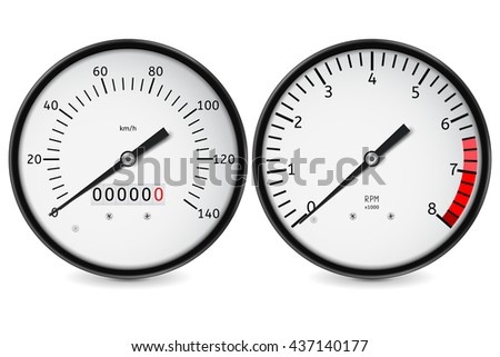 Speedometer, tachometer. Realistic illustration isolated on white background. Raster version