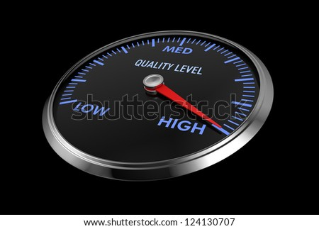 speedometer with quality level, with needle on the high value (3d render)