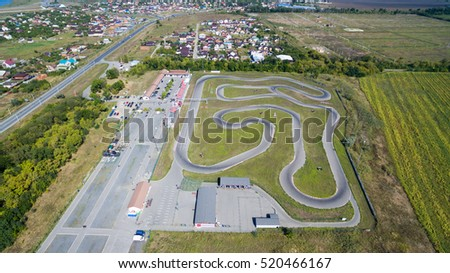 Speedway kart field. View from above