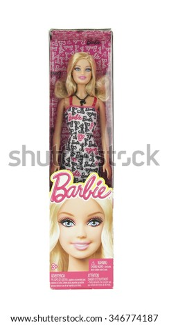 SPENCER , WISCONSIN, December,3, 2015   Barbie toy doll in the package box  Barbie is a fashion doll manufactured by the toy company Matel Inc and was launched in 1959