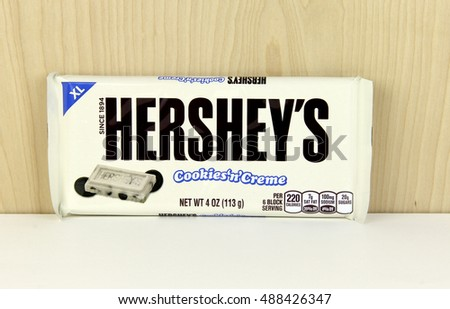 Spencer, Wisconsin - September, 25, 2016   Hershey's Cookies and Creme Candy Bar Hershey's is an American based company founded in 1894