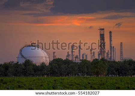 Sphere tank oil and gas refinery at sunset