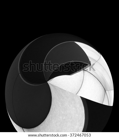 Spherical object with spiral structure. Abstract black and white image for contemporary graphic design. Expressive background for several paragraphs of text.