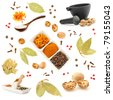 Spice and herbs set. Big collection of different spices for cooking on white background - stock photo