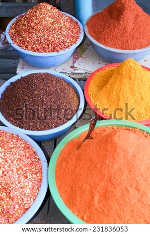 Spices at the market of Pyin U Lwin on Myanmar