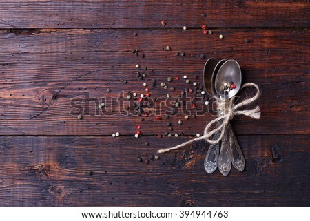 Spices on wood table.