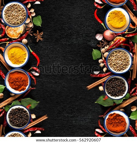 Spices ingredients on dark background healthy stock photo for Asian cuisine ingredients