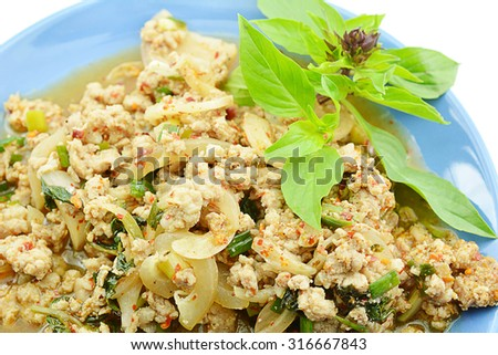 Spicy minced pork, Spicy minced pork salad. Thai Food Menu.