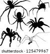 Spider silhouettes set. Raster version. - stock photo