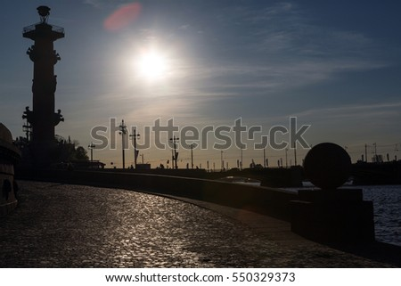 Spit of Vasilievsky Island at sunset in the city center in Saint Petersburg