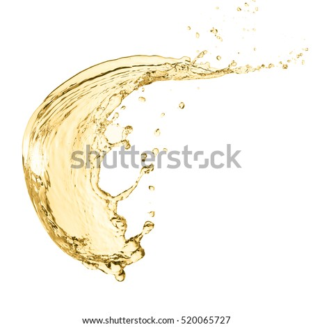 splash of white wine, isolated on white background