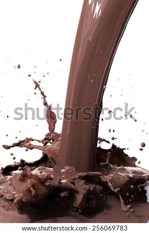 splashing hot chocolate, isolated on white background