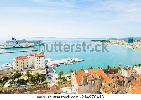SPLIT, CROATIA - AUG 22, 2014: Aerial view of the red roof tops in Split, Croatia. Split is the largest city of the region of Dalmatia and a popular touristic destination