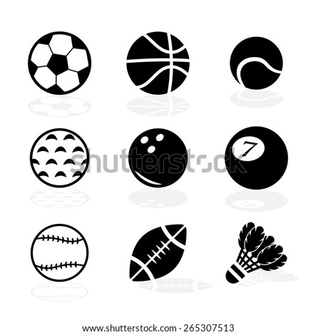 Sport balls icon set with shadows