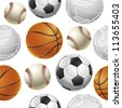 Sport Balls Set Seamless pattern (jpg). Vector version also available - stock vector