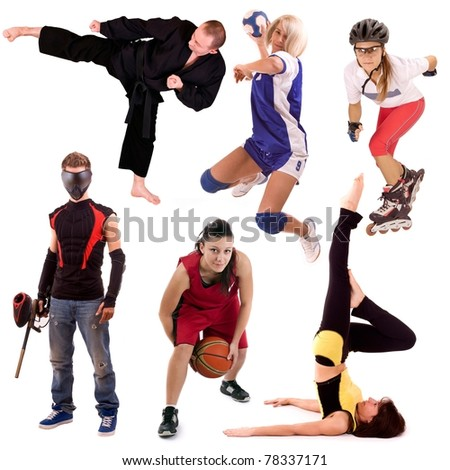 sport people collage, isolated in white background