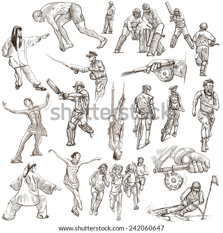 SPORT, Sporting Events around the World - Collection of an hand drawn illustrations (pack no.9). Description: Full sized hand drawn illustrations drawing on white.