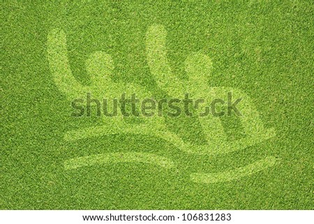 Sport swimming on green grass texture and  background