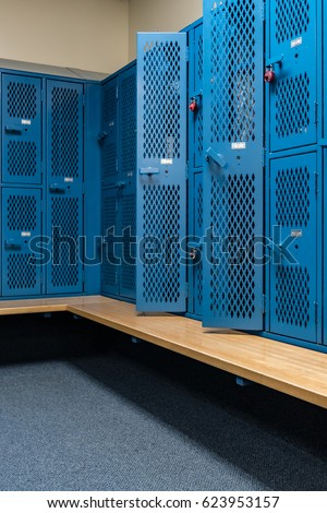 locker room windows blue cage lockers gym bench front stock photo 483350704 shutterstock