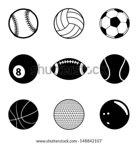 Sports Balls Icon Set. Raster version, vector also available.