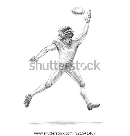 Handdrawn Sketch Pencil Illustration Football Soccer Stock