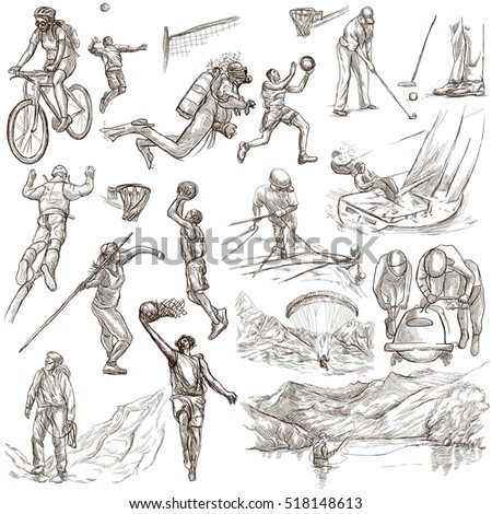 SPORTS. Sporting events around the World. Collection of an hand drawn illustrations. Set of full sized drawings on white background, isolated.