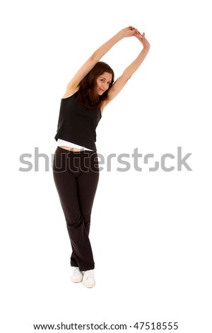 Sports woman doing stretching exercises