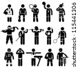 Sportswear Sports Attire Clothing Apparel Player Athlete Wear Shirt Stick Figure Pictogram Icon - stock photo