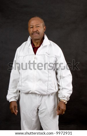 sporty african american man of retirement age