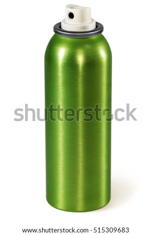 Spray Can. Green aluminum aerosol can, isolated on white.