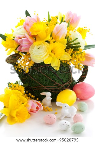 spring flowers and  easter eggs for holiday