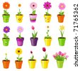 Spring Flowers In Pots, Isolated On White Background - stock vector