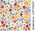 Spring Flowers Pattern Tile - stock photo