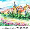 Spring in small city on the river.Picture I have created with watercolors. - stock photo