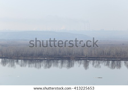 spring landscape flood on the Kama River, view from the mountain