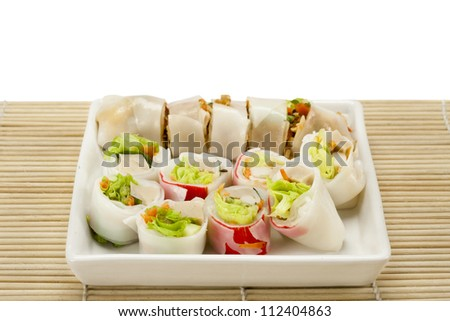 spring rolls ,rice paper rolls with pork and vegetables.