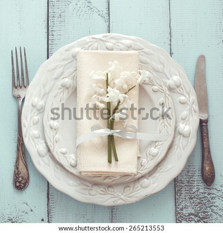 Table Setting Background rustic table setting on white wooden stock photo 98047076
