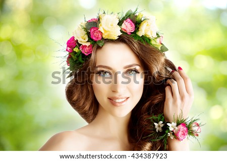 Spring woman Young  Girl flowers Beautiful model wreath bracelet Bride bridesmaid makeup spa Lady make up Mascara lashes lipstick lips eye shadow shiny hair manicure nail polish Products Treatment