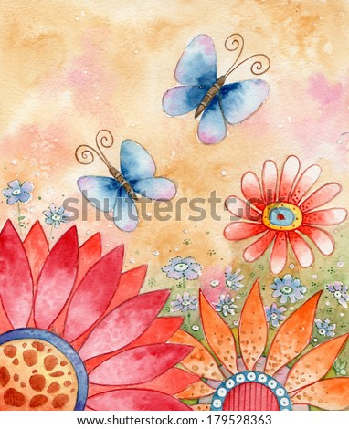 Springtime - Watercolor illustration of flowers and butterflies.